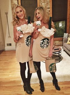 Group Halloween costumes for women; Halloween costumes for teens; Halloween costumes for girls; Starbucks Halloween Costume, Cute Group Halloween Costumes, Cute Costumes, Halloween Outfits, Halloween Party, Food Costumes, Halloween Costumes For Bestfriends, Bestfriend Costume Ideas, Costume Ideas For Friends