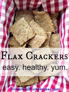 Flax Crackers: Easy and Healthy Snack is gluten-free and dairy-free. Great side for soups as well. From ProverbialHomemaker.com