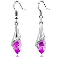 Gold Plated Austrian Crystal Water Drop Earrings Jewelry For Bridal Women Long Earrings