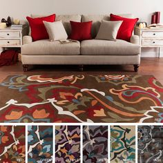Hand-tufted Floral Contemporary Area Rug (5' x 8') - Overstock™ Shopping - Great Deals on 5x8 - 6x9 Rugs