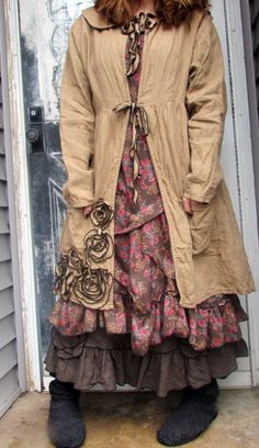 Ginger Linen Rose Jacket M by sarahclemensclothing on Etsy