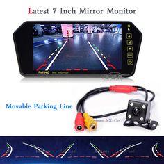 2017 parking Assistance Kit Dynamic trajectory Vehicle camera TFT LCD 7 Inch Mirror Monitor Reversing camera Rear view camera