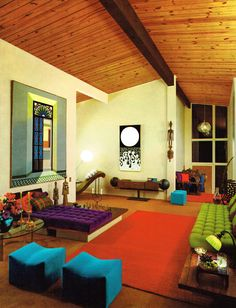 Colorful living room in White Plains, New York, 1960s