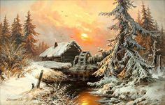 My idea of living! Oil Painting Pictures, Pictures To Paint, Seascape Paintings, Landscape Paintings, Dream Pictures, Chicken Art, Winter Painting, Galaxy Painting, Winter Scenery