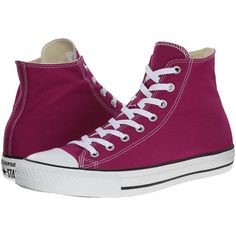 Converse Chuck Taylor All Star Seasonal Hi Classic Shoes, Pink (720 CZK) ❤ liked on Polyvore featuring shoes, sneakers, shoes/boots, pink, pink shoes, high top trainers, high top sneakers, converse high tops and pink sneakers