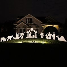Holy Night Large Complete Nativity Scene - Night View