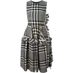 Simone Rocha plaid bouclé tweed dress ($2,440) ❤ liked on Polyvore