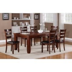 3307 5 Pc Contemporary Dining Room Set Features A Wood Rectangular Table With Butterfly Leaf And Thick Legs The Seating Includes 4 Ladder Back Chairs In