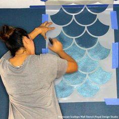mermaid Bathroom Decor How to Stencil a Metallic Mermaid Fish Scales Wall - DIY Accent Wall Art for Girls Room or Modern Teen Room - Royal Design Studio Scallop Pattern Wall Stencils