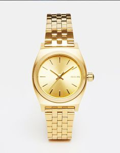 Nixon Small Time Teller Gold Watch