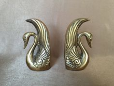 Brass Swan Bookends Art Deco Bookends Art Deco Style by DotnBettys