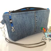 Clutch Denim Jeans Wristlet, Makeup Bag, Zippered Bag with Blue Motorcycle Hogs Lining (Free US Shipping)