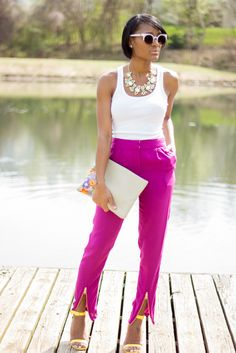 Pink pants with yellow sandals. LOVE!