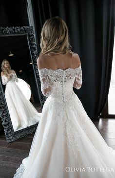 A line wedding dress Olivia by Olivia Bottega. - A line wedding dress Olivia by Olivia Bottega. Wedding dress… A line wedding - Wedding Dress Winter, Western Wedding Dresses, Luxury Wedding Dress, Long Wedding Dresses, Modest Wedding, Lace Wedding Gowns, Trumpet Wedding Dresses, Ivory Wedding, A-line Wedding Dresses