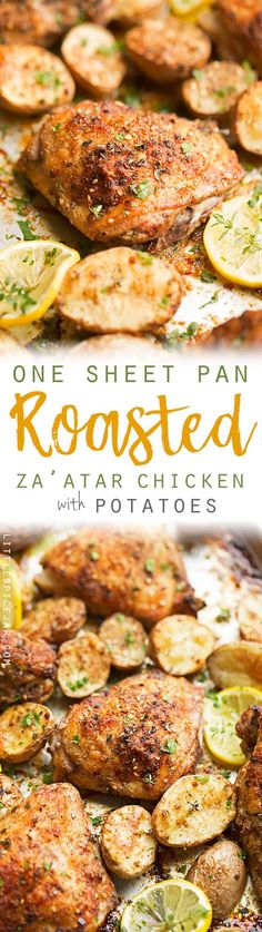 One Sheet Pan Roasted Za'atar Chicken with Potatoes - One sheet pan dinner recipe with roasted za'atar chicken and crispy baby potatoes. This chicken dinner has just 6 simple ingredients and is made in one pot! #roastedchicken #chickenandpotatoes #onesheetpandinner #chickenandveggies | Littlespicejar.com