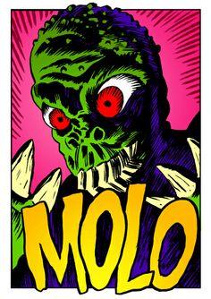 Ilustración basada en el cartel de Reynold Brown para la película The Mole People, la gente que mola, como este señor.