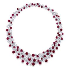 Graff scattered ruby and diamond necklace