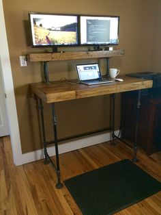 Stand-up Office Desk Home Office Setup, Home Office Design, Diy Office Desk, Ikea Office, Office Spaces, Work Spaces, Diy Standing Desk, Dyi, Stand Up Desk