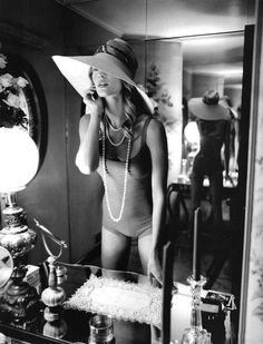 Pearls and hat
