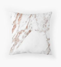 Rose gold vein marble Throw Pillow