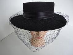 Vintage black wool broad brimmed hat with by HistoricalVintage