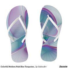 Colorful Modern Pink Blue Turquoise Fractal Art Flip Flops