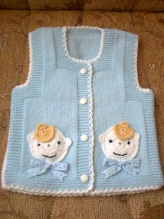 Baby Vest Decoration Techniques – Knit Vest Decorations for Babies - Babykleidung Baby Knitting Patterns, Knitting For Kids, Crochet For Kids, Baby Patterns, Doll Patterns, Crochet Baby, Knit Crochet, Crochet Patterns, Baby Cardigan