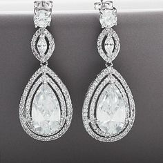 peardrop vintage style crystal earrings by queens & bowl   notonthehighstreet.com