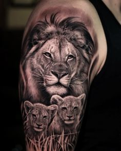 Dark Age Tattoo Studio : Tattoos : Half-Sleeve : Black and Grey Realistic Lion and Cubs Tattoo Lion Cub Tattoo, Tribal Lion Tattoo, Cubs Tattoo, Lion Head Tattoos, Lioness Tattoo, Mens Lion Tattoo, Lion Tattoo Design, Lion Tattoos For Men, Family Tattoos For Men