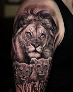 Dark Age Tattoo Studio : Tattoos : Half-Sleeve : Black and Grey Realistic Lion and Cubs Tattoo Lion Cub Tattoo, Cubs Tattoo, Lion Head Tattoos, Lioness Tattoo, Mens Lion Tattoo, Lion Tattoo Design, Lion Tattoos For Men, Family Tattoos For Men, Father Son Tattoo