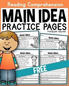 These main idea practice pages are perfect for main idea beginners! Each page includes a short, easy to read passage with 2 questions. The first question asks students to write the main idea. Reading Lessons, Reading Strategies, Reading Activities, Reading Skills, Guided Reading, Teaching Reading, Main Idea Activities, Learning, Educational Activities