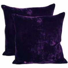 Purple Velvet Throw Pillows (Set of 2)
