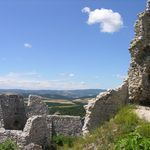 "Ruins of the ""mysterious castle in the Karpaty mountains"" tower above the village Čachtice in western Slovakia. It is the Castle of Čachtice, once residence of the ""bloody countess Elizabeth Bátory"". Slovakia"