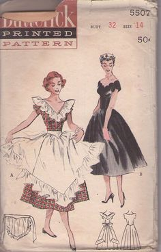 MOMSPatterns Vintage Sewing Patterns - Butterick 5507 Vintage Sewing Pattern BEAUTIFUL Rockabilly Off the Shoulders Scallop Decolletage Full Swirl Skirt Party Dress, Ruffle & Cinch Midriff Hostess Apron √ Sewing Aprons, Dress Sewing Patterns, Vintage Sewing Patterns, Clothing Patterns, Apron Patterns, Vintage Apron Pattern, Aprons Vintage, Retro Vintage, Pattern Pictures