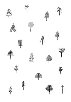 cute ways to draw trees. would be cool to have one of these with a few birds.