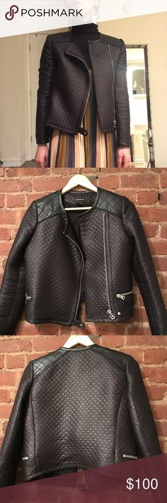 Club Monaco Quilted Jacket Waxed cotton quilted jacket. Silver hardware. Perfect condition! Club Monaco Jackets & Coats