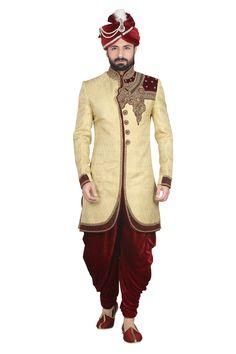 Gujju Kathiyawadi style wedding sherwani www.attirebazaar.com Whats app :+91-7048347277
