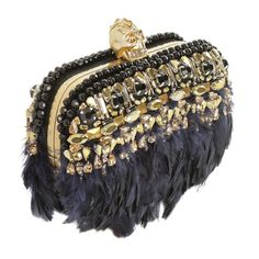 Swarovski Crystal and feather embellished clutch by Alexander McQueen