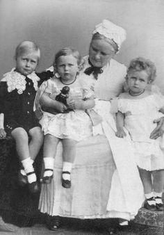 Wilhelm II's eldest sons with their nanny.