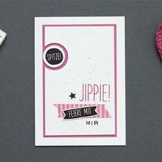 Einladungskarte Feiere mit mir! in Flüsterweiß, Schwarz und zarte Pflaume mit #stampinup #card #karte