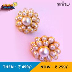 Pearl white petals pachhi work stud earring traditional pachi jewelry.Shop Now- http://bit.ly/1N3f5aB #KamaalDhamaalSale . Kindly copy & paste the link on your browser to use the link.
