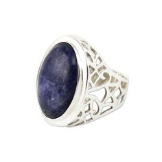 NOVICA Sodalite Ring Sterling Silver Artisan Jewelry (320 BRL) ❤ liked on Polyvore featuring jewelry, rings, clothing & accessories, cocktail, sodalite, evening jewelry, antique jewellery, special occasion jewelry, sterling silver jewelry and cocktail rings