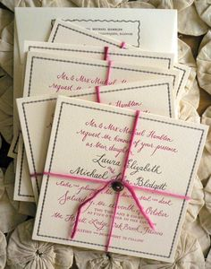 Yarn and button on custom stationery by Bird and Banner Pink Wedding Invitations, Beautiful Wedding Invitations, Wedding Stationary, Party Invitations, Invites, Invitation Suite, Wedding Ties, Wedding Paper, Our Wedding