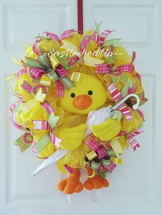 Adorable Deco Mesh Spring/Easter wreath, This wreath says April Showers bring May Flowers! by SoMeshedUp on Etsy