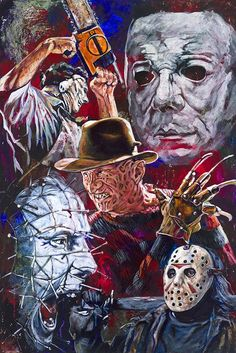 Horror Movie Villains fine art print featuring Jason, Freddy Krueger, Leatherface, Pinhead and Michael Myers - Slasher Movies, Horror Movie Characters, Horror Icons, Horror Movie Posters, Arte Horror, Arte Punk, Horror Artwork, Horror Pictures, Images Gif
