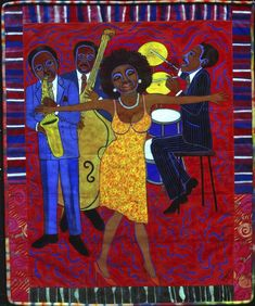 Faith Ringgold Jazz Stories: Mama Can Sing, Papa Can Blow Somebody Stole My Broken Heart, 2004 Acrylic on canvas with pieced fabric border © 2018 Faith Ringgold / Artists Rights Society (ARS), New York Courtesy ACA Galleries, New York African American Culture, African American Artist, African Art, American Artists, American History, Faith Ringgold Art, Radios, Jazz, American Quilt