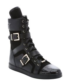 Jimmy Choo black leather and suede mixed media 'Brixen' mid-calf trainers