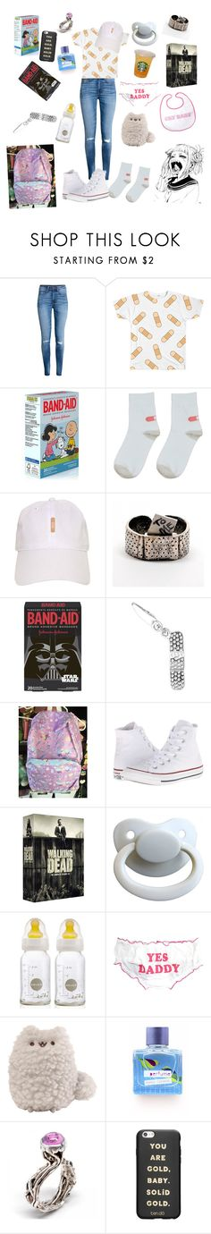 """""""Band-aid baby"""" by rainythedarklord ❤ liked on Polyvore featuring GET LOST, H&M, Converse and ban.do"""