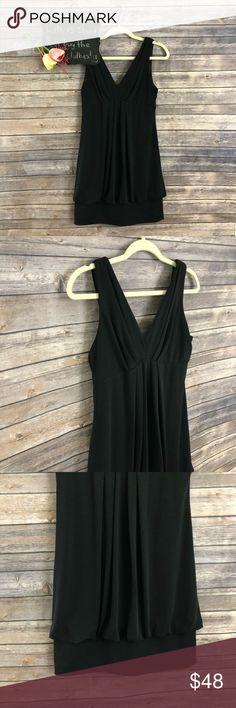 "Eliza J black layered sleeveless draped back dress Eliza J black layered sleeveless draped back dress. Beautiful!! Size 10P.  16.5"" arm pit to arm pit.  33.5"" length. Eliza J Dresses"