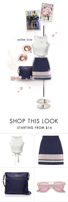 """Coffee Date, Navy & Blush"" by mrsgena ❤ liked on Polyvore featuring Martha Stewart, Topshop, Kate Spade, Jack Rogers, coffee, polyvoreeditorial and pinkandnavy"